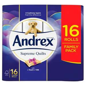 Andrex 16 Supreme Quilts Toilet Roll £6.50 at Tesco