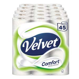 Velvet Comfort Toilet Roll Tissue Paper 45 Rolls (Pack of 5 X 9) £15 + £4.49 delivery (Non Prime) or buy 2 for free delivery @ Amazon