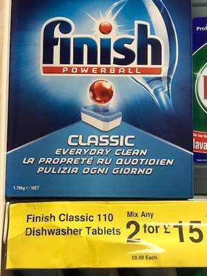 Finish Powerball Dishwasher tablets at Farmfoods. £8.99 or 2 for £15.00