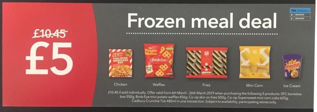 Coop frozen meal deal - SFC boneless box, waffles, fries, mini corn, Ice cream for £5