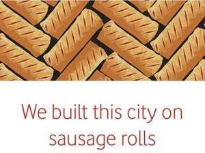 Free Greggs sausage roll or cheese and onion pasty Vodafone very me rewards