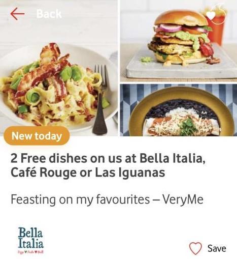 Vodafone VeryMe Rewards - 2 free dishes at Bella Italia, Cafe Rough or Las Iguanas