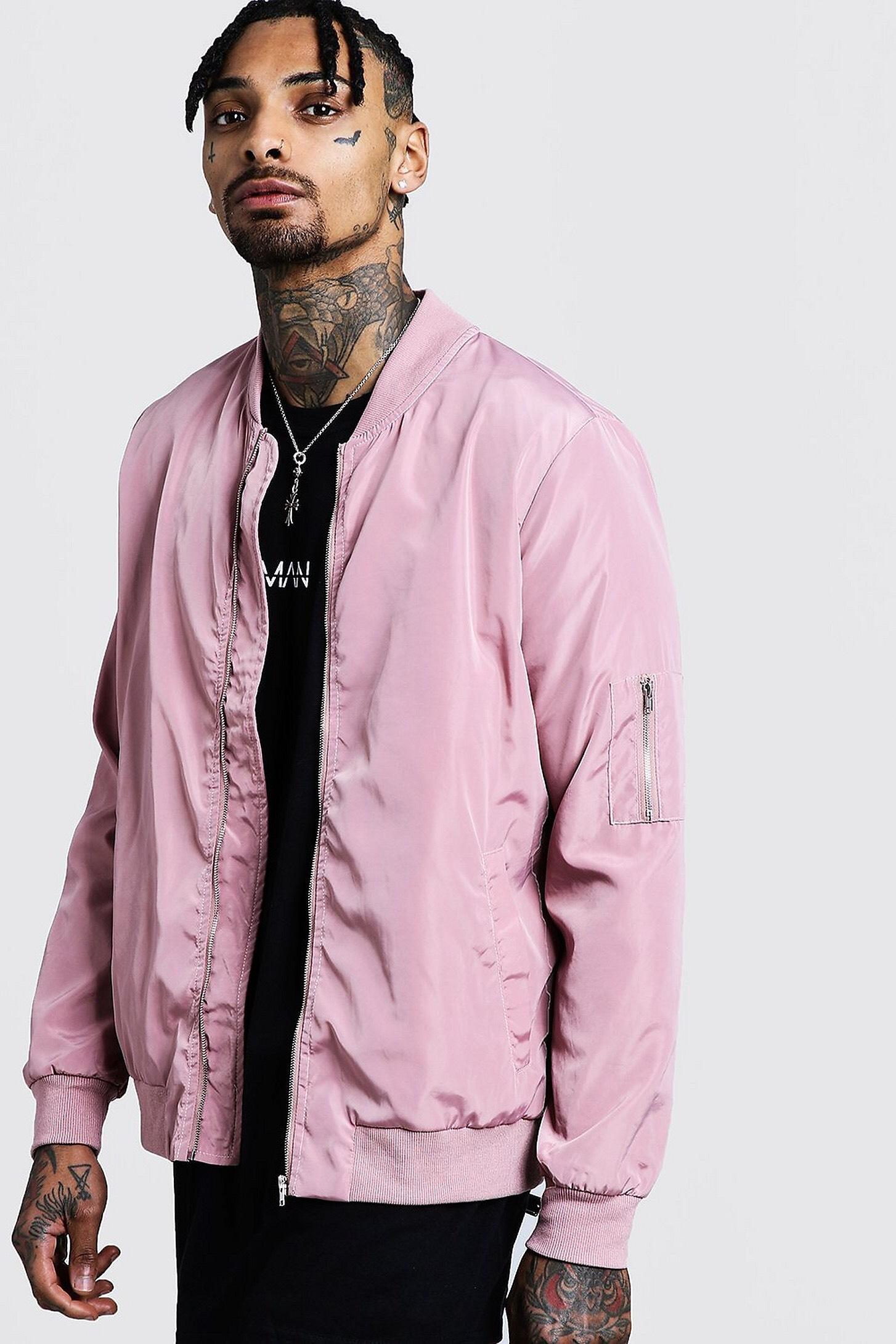 Men's Powder Pink MA1 Bomber Jacket. 25% off @ Boohooman - £15 (+£3.99 P&P)