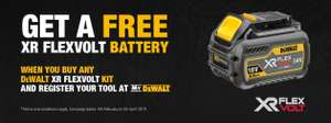 Get a free DeWalt XR 54V Flexvolt Battery when purchasing specific new products. See OP