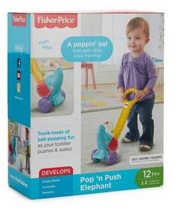 Fisher Price Pop N' Push Elephant toy £10 at Debenhams free click and collect with code free £5 gift voucher