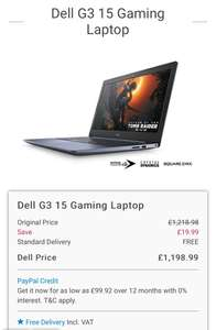 Dell G3 15 Gaming Laptop - £1054 with code @ Dell