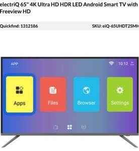 "ElectriQ 65"" 4K Ultra HD HDR10 LED Android Smart TV with Freeview HD at Appliances Direct for £499.97"