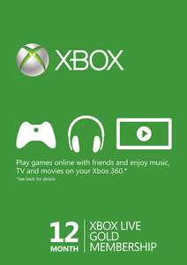 12 Month Xbox Live Gold Membership (Worldwide) (Xbox One/360) £29.99/£29.09 with FB code @ CDKeys