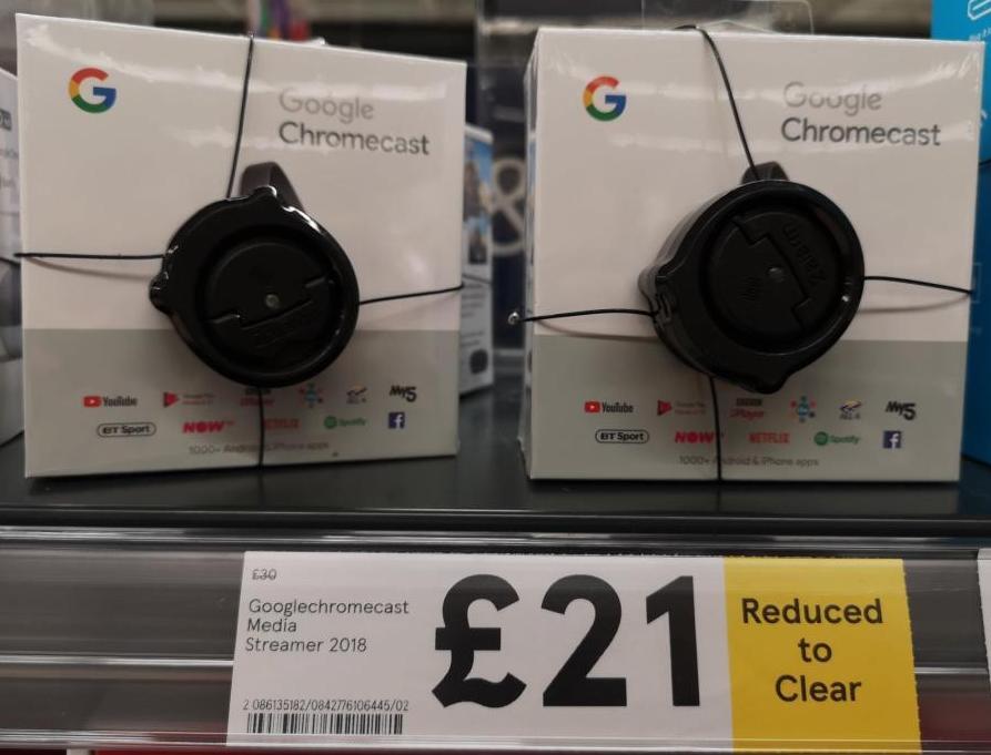 Google Chromecast 2018 Model reduced to £21 instore @ Tesco