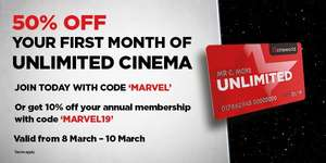 10% off Annual CineWorld Unlimited card