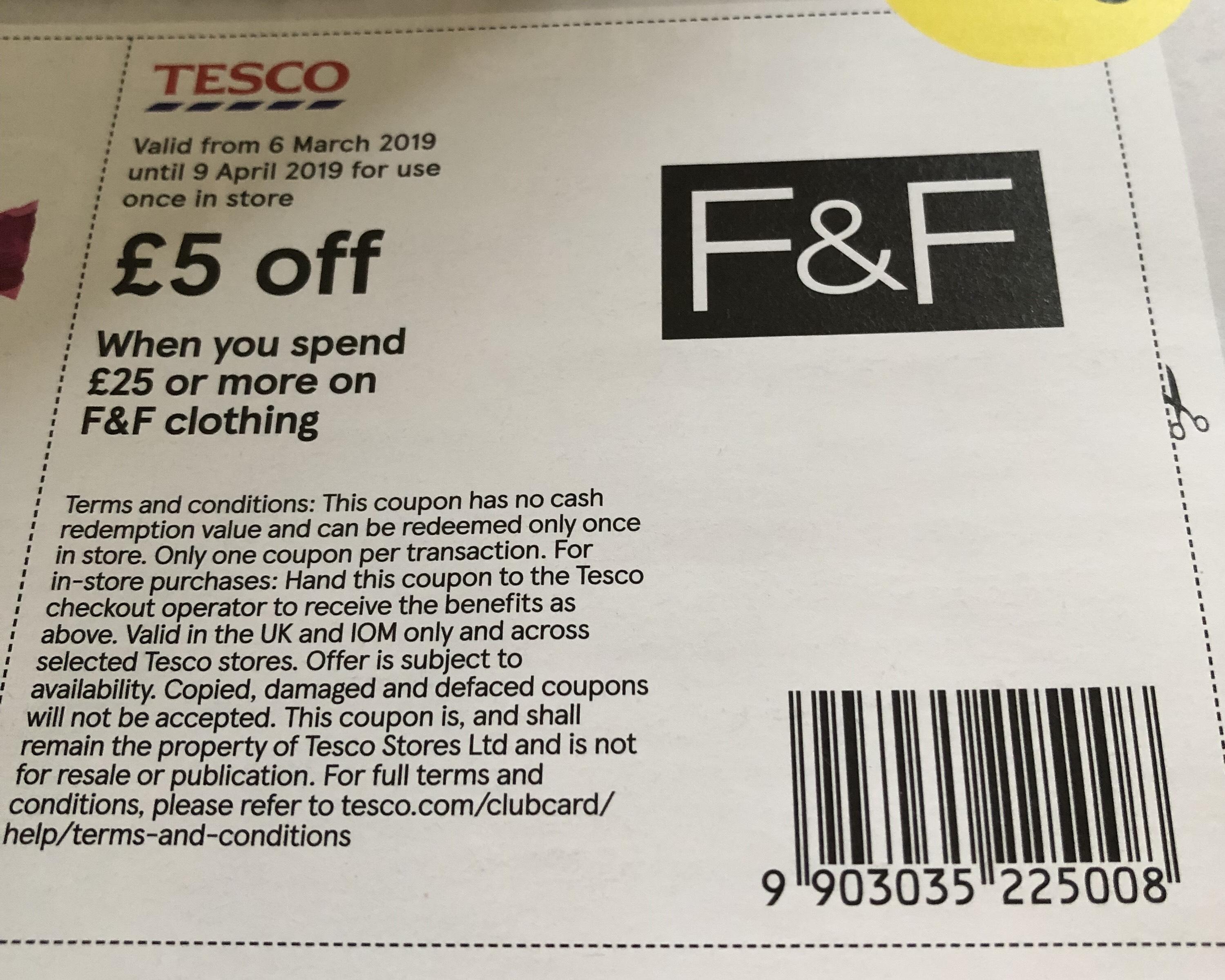 £5 off £25 spend on F & F (Voucher inside new Tesco Magazine)