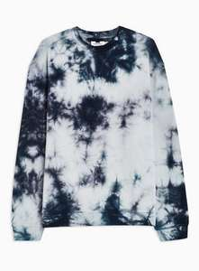 Topman Topshop - Up to 60% Sale with prices from £1.00 -  Light Blue & White Wash Sweatshirt (was £30) Now £15.00