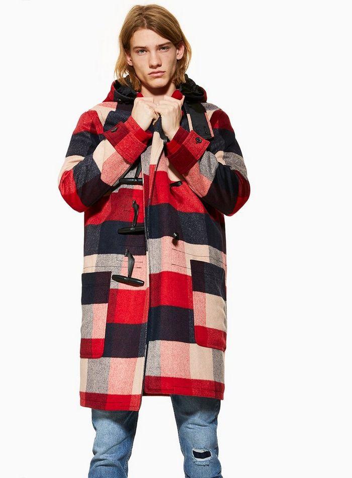 Red Check Duffle Coat - £45 @ Topman