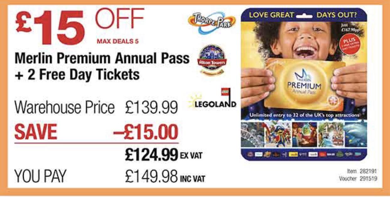 Merlin Premium Annual Pass at Costco for £149.98