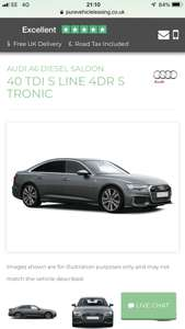 Audi A6 40 tdi S line saloon at Pure Vehicle Leasing £299.67pm (initial rental £2697)