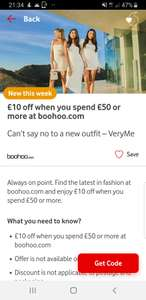 Get £10 off when you spend £50 or more at boohoo with myvodafone app