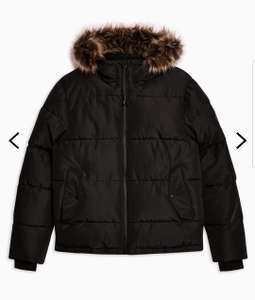 Black Hooded Puffer Jacket at Topman for £25 or possible 10% student discount = £22.50 (free C&C)