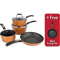 scoville copper edition 4 piece saucepan frying pan set. Black Bedroom Furniture Sets. Home Design Ideas