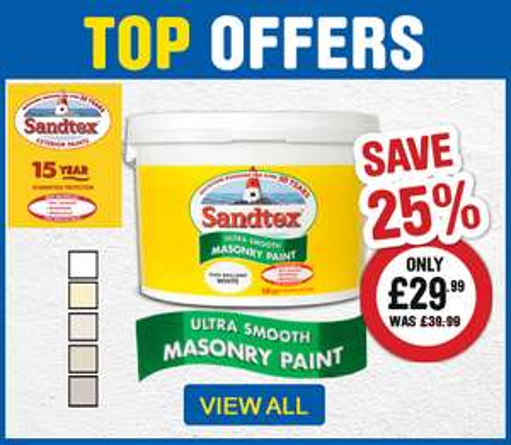 Sandtex Ultra Smooth Masonry Paint 10L (Various) £29.99 @ Toolstation