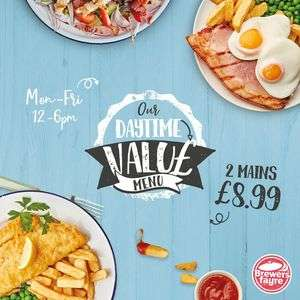 TWO Main Courses for £8.99 @ Brewers Fayre (12 - 6pm Mon - Fri)