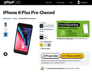 iPhone 8 Plus Pre-Owned £379 (possibly £329 through TCB) @ giffgaff
