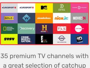 Free month trial of TV player premium.35 premium channels & Freeview channels.includes Fox HD  comedy Central, Eurosport, TLC, Discovery,