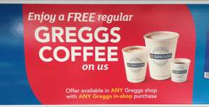 Free Coffee with any Greggs purchase at Iceland