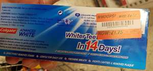 Colgate Advanced White toothpaste twin pack (2 x 75ml) reduced to clear- £1.75 for two tubes (87.5p each) Asda Clacton On Sea