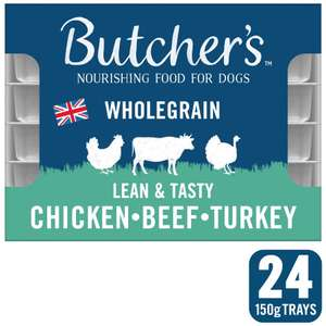 Price cut on all Butchers Pet food @ Petsathome - Butcher's Lean and Tasty Low Fat Dog Food Trays 24x150g now £10 - free c&c