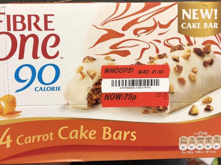 Fibre One Carrot Cake Bars 75p instore Asda Shipley, Bradford