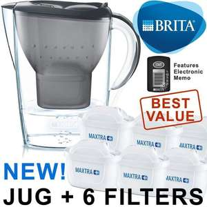BRITA Marella MAXTRA+ Plus 2.4L Water Filter Jug + 6 Month Cartridges Pack, Grey/white at Ozaroo for £26.22