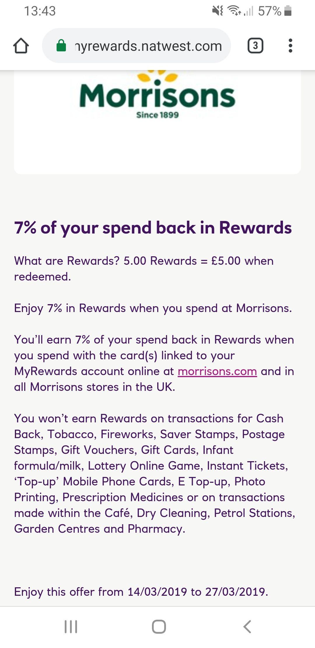 7% cashback at Morrisons through NatWest rewards scheme