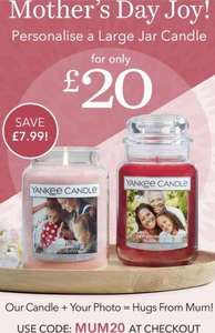 £7.99 off personalised large Yankee candle - Large candles for only £20