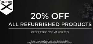 20% off Fujifilm Refurbished Mirrorless Cameras and Lenses until 31/03/2019