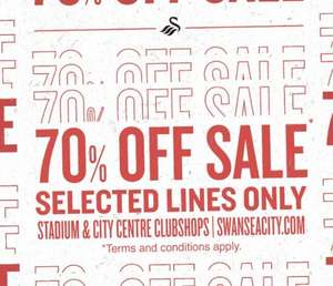 70% off clearance sale at Swansea City FC club shop online and in store: offers from £2.55