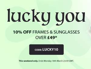 SelectSpecs 10% off frames and sunglasses over £49 this weekend
