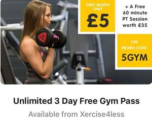 Unlimited 3 Day Free Gym Pass Available from Xercise4less