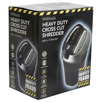 10 Sheet, 21 litre heavy duty cross cut paper shredder.