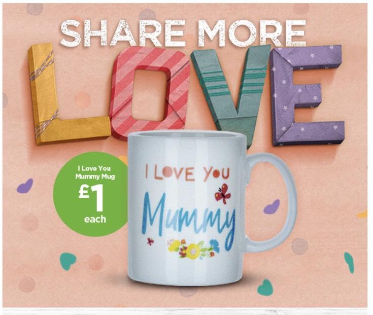 "Lovely Mothers day gift - ""I Love You Mummy"" mug @ Asda ( George) £1"