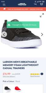 Larson Men's Breathable Memory Foam Lightweight Casual Trainers At Trespass.Com for £14.99 (free C&C)