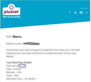 Plusnet retention deal £3.99 UNLIMITED minutes, UNLIMITED texts, 500MB data (12 months)