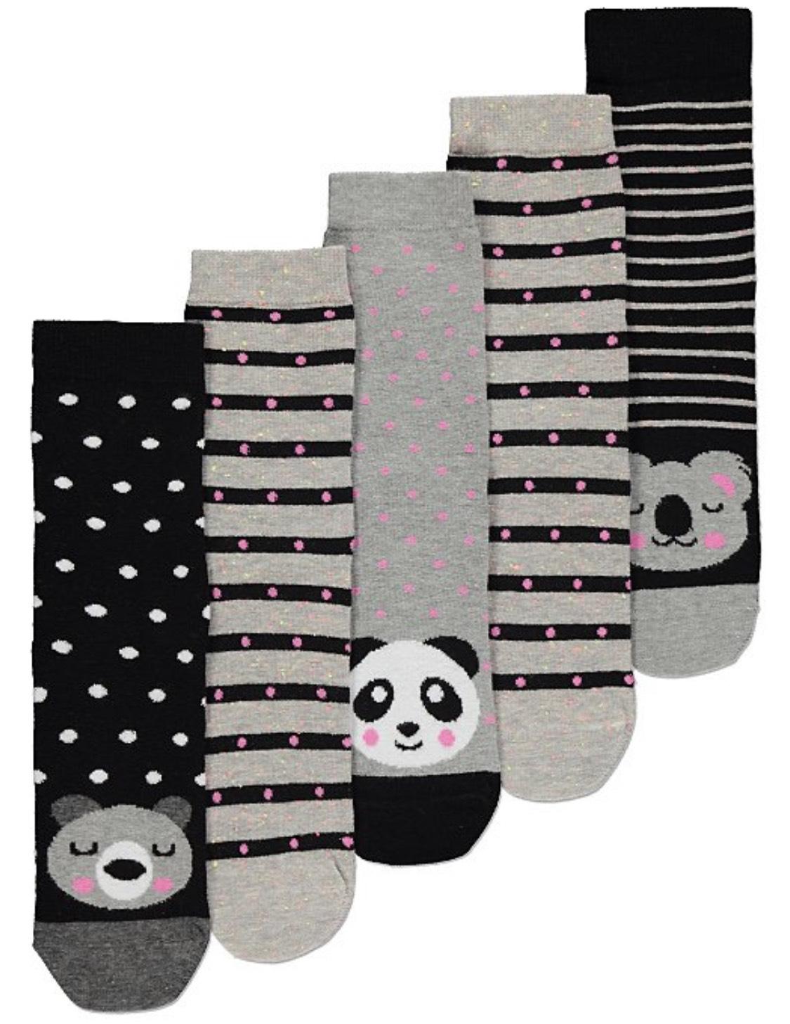 Animal Print Socks - 5 Pack - £2 @ Asda (Free C&C)