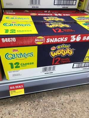 Walkers Snacks 36 Box (12 Quavers, 12 Wotsits and 12 Monster munch) - £3.99 at The Food Warehouse