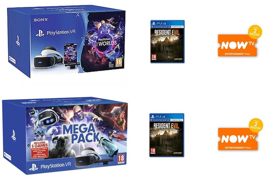 PlayStation VR Starter Pack + Resident Evil 7 + 2 Months Now TV £209.99 || PSVR Mega Pack + Resident Evil 7 + Now TV £239.99 @ Game