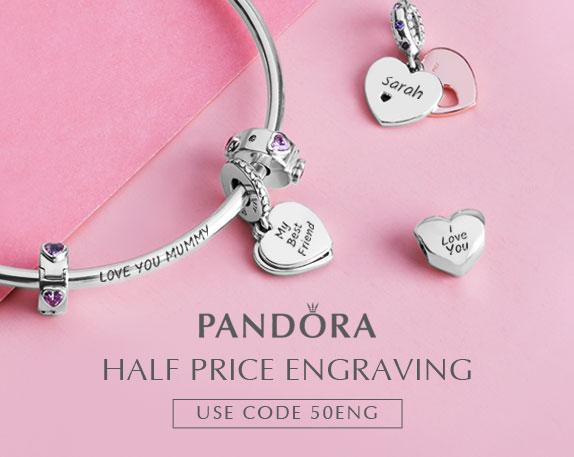 Half Price Pandora Engraving with code @ The Jewel Hut