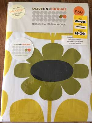 Olive and Orange 100% Cotton Double Duvet from Orla Keily design studio from Dunelm - £15 (available in duck egg too - see link)