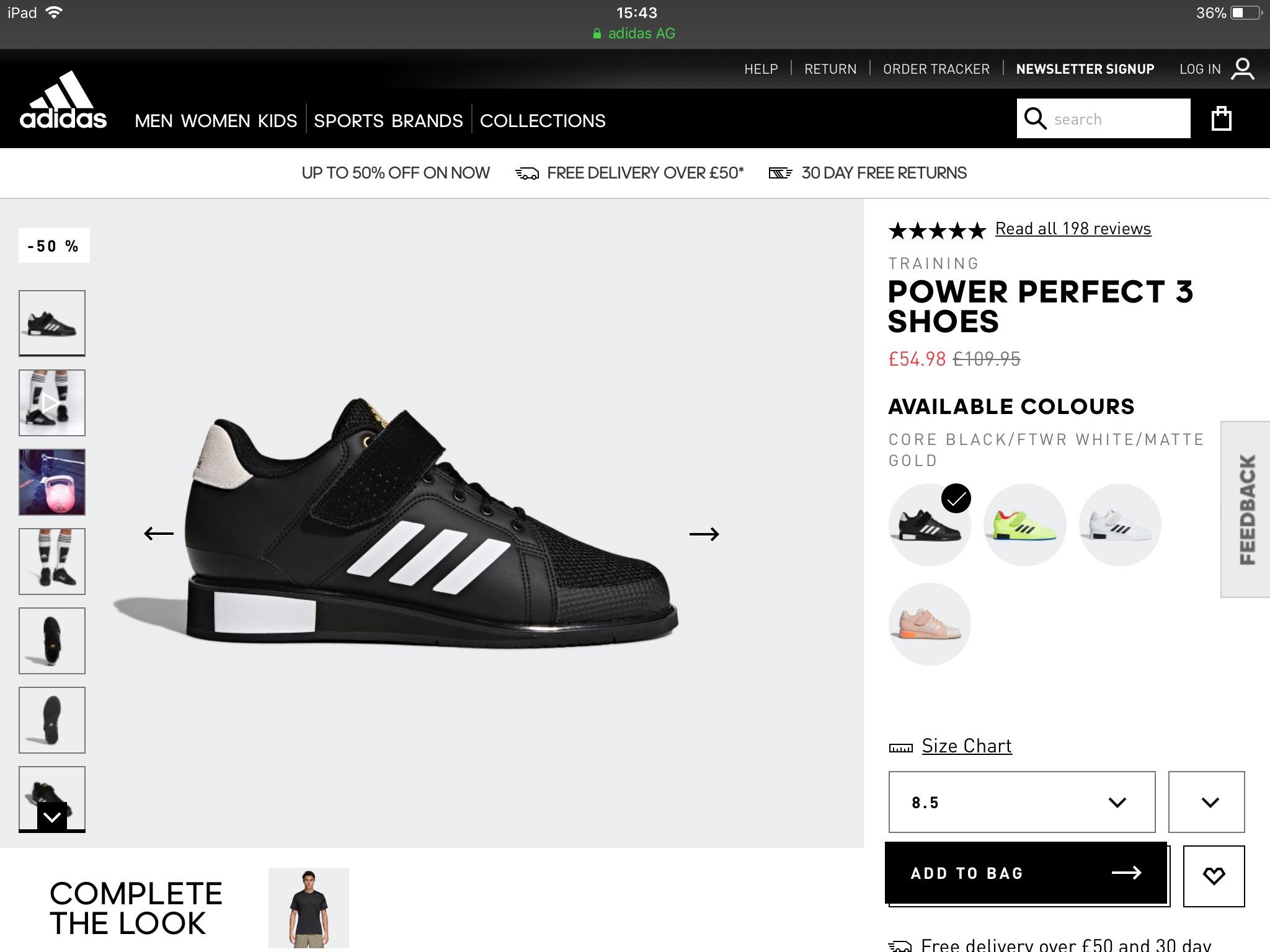 Adidas Weight Lifting Boots Power Perfect 3 - £54.98 @ Adidas Shop