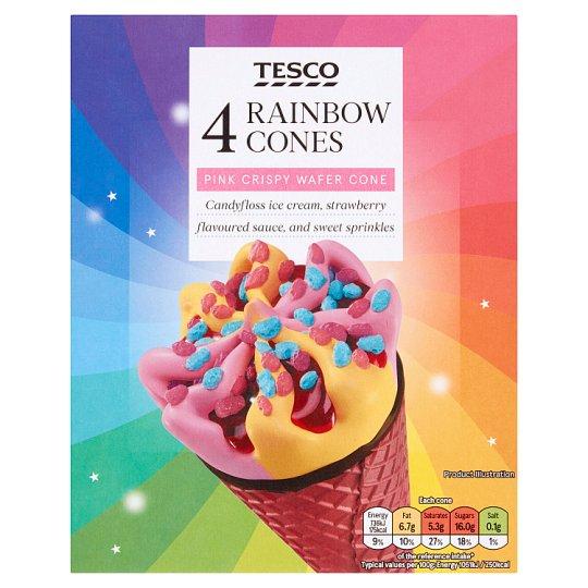 Tesco Rainbow Ice Cream Cones 4 x 110ml £1 @ Tesco