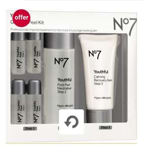 Boots Offer Stack - No7 Youthful Glycolic Peel Kit £15 (was £25), 3 for 2 on No7, Cheapest free, Free c&c