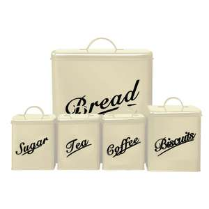 5 Piece Canister Set Bread Bin Sugar Coffee Tea Biscuits Tin Was £19.99, Now £14.41 Delivered ~ eBay - By Home Discount